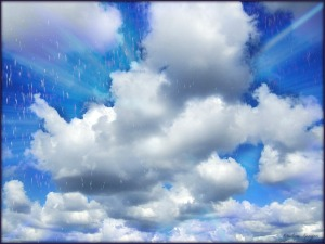 Bright Clouds Rainy Day by Kristine Kenyon